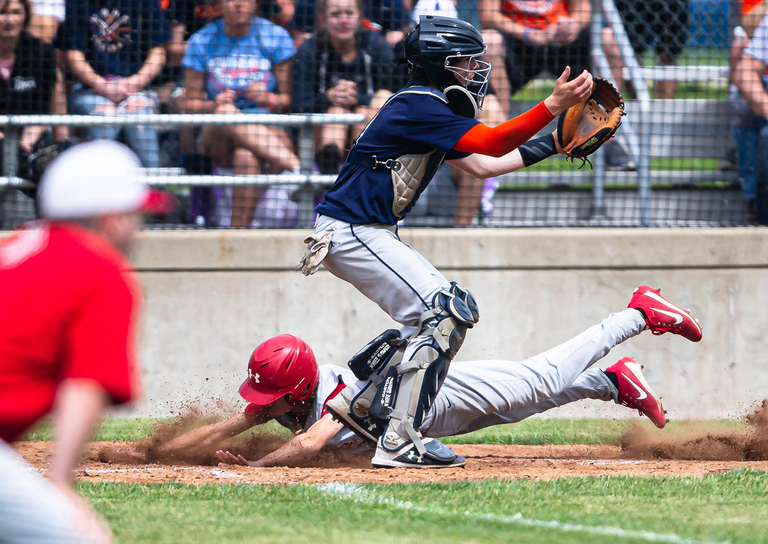 Pleasant Plains' Reese Snell (3) slides safely into home to put the Cardinals up 4-0 over New Berlin in the 2nd inning in the Class 2A Pleasant Plains Sectional championship game at Reiser Field, Saturday, May 25, 2019, in Pleasant Plains, Ill. [Justin L. Fowler/The State Journal-Register]