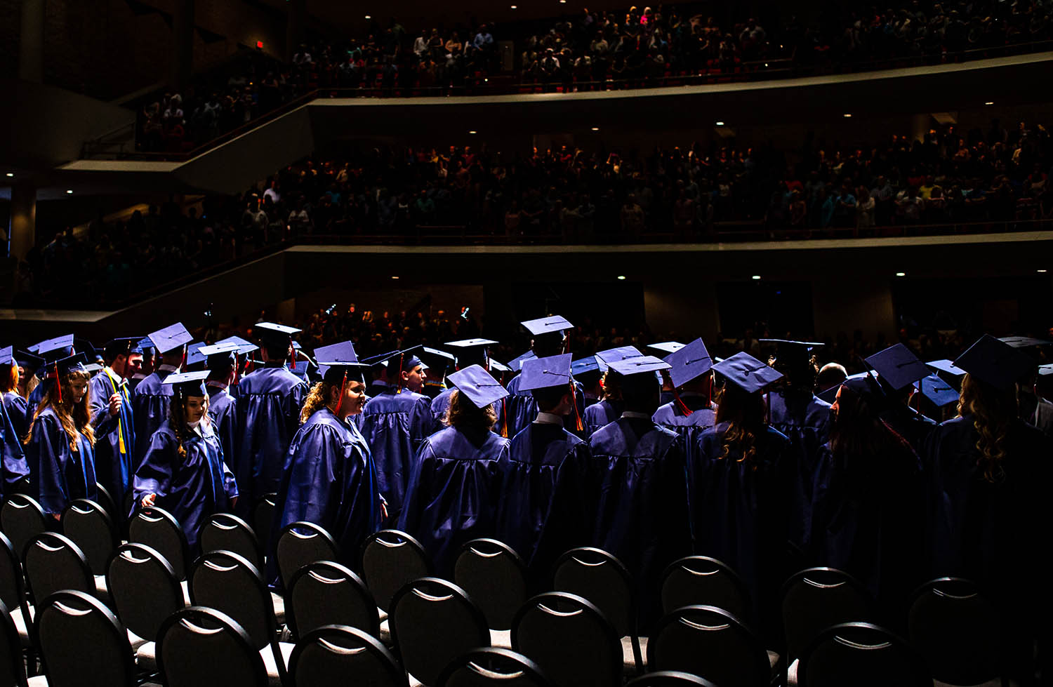 The Class of 2019 at Rochester High School files into their seats for the school's graduation ceremony at the Sangamon Auditorium at the University of Illinois Springfield, Sunday, May 26, 2019, in Springfield, Ill. [Justin L. Fowler/The State Journal-Register]