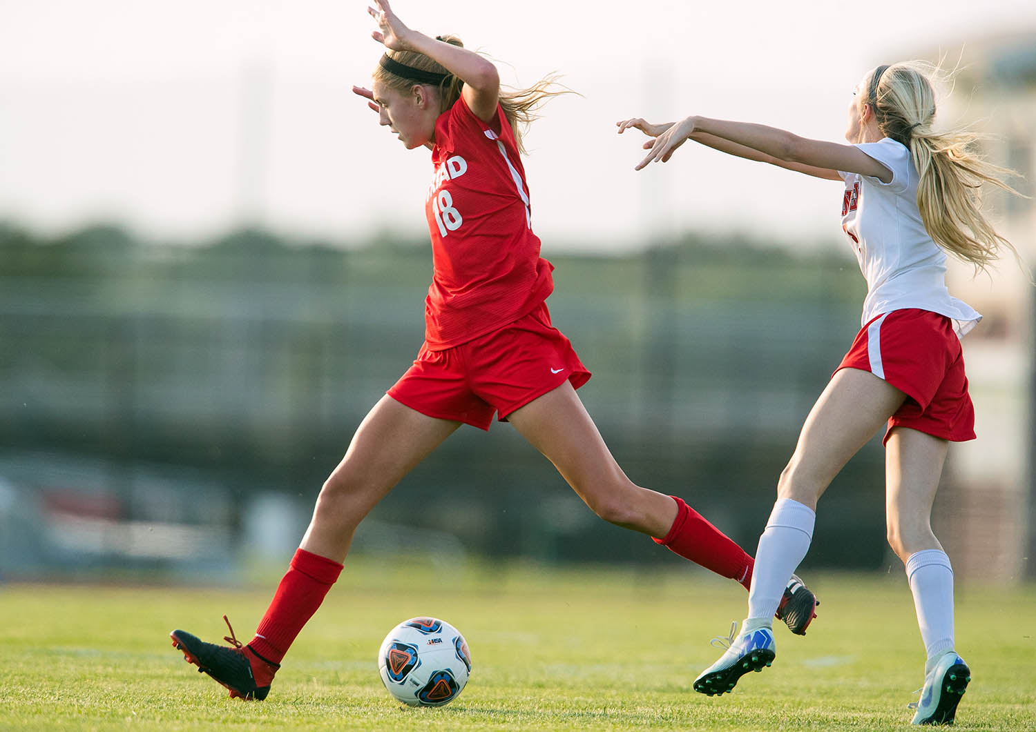 Springfield's Morgan Gill pushes off Troy Triad's Avery Bohnenstiehl after contact was made during play during the 2A Glenwood Supersectional at Glenwood High School Tuesday, May 28, 2019. [Ted Schurter/The State Journal-Register]