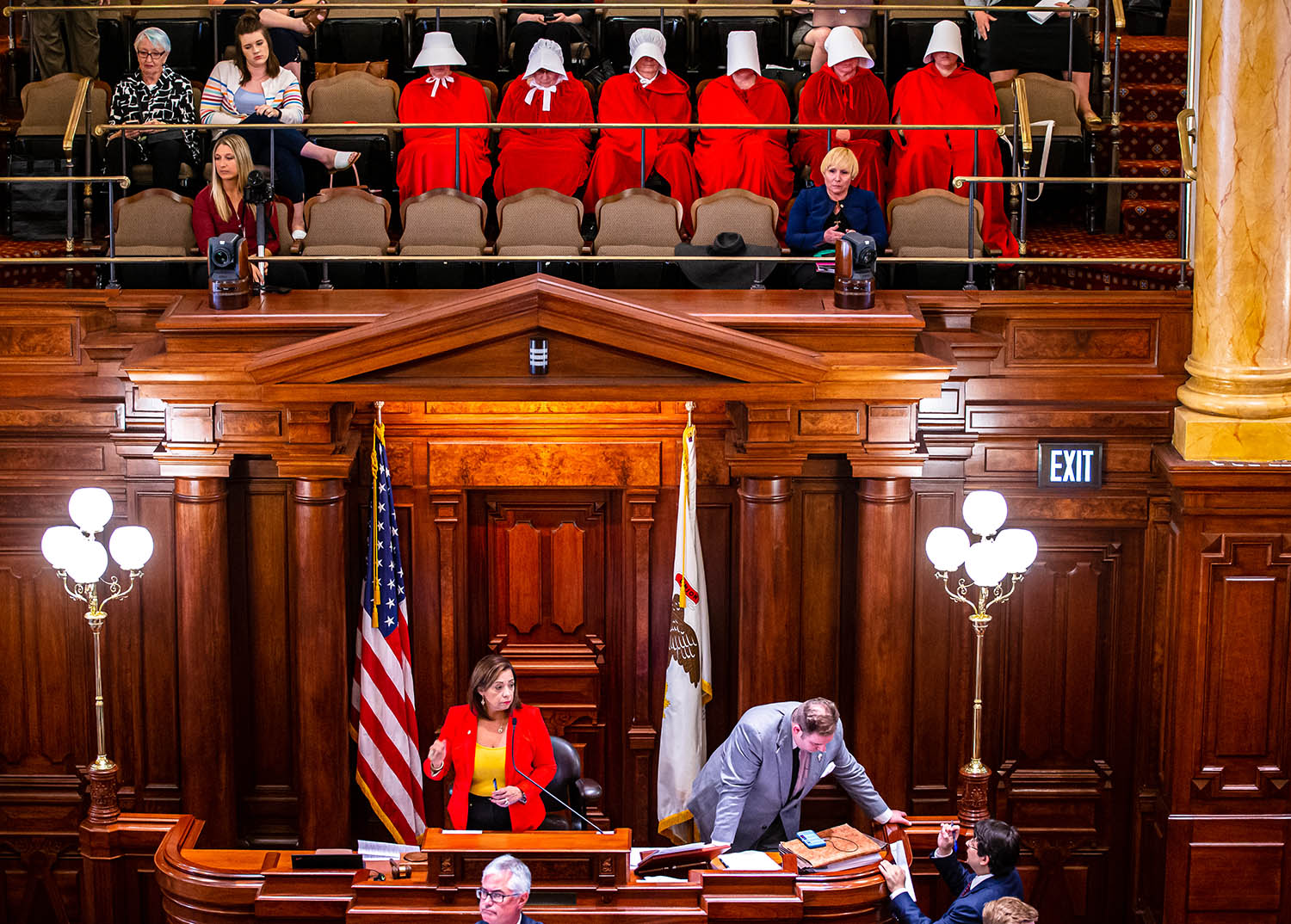 The Illinois Housemaids sit in the the President's Gallery of the Illinois Senate showing their support of the Reproductive Health Act on the last scheduled day of the Spring Session at the Illinois State Capitol, Friday, May 31, 2019, in Springfield, Ill. [Justin L. Fowler/The State Journal-Register]