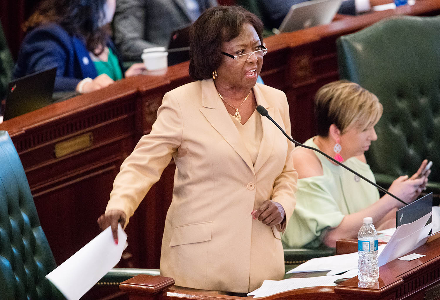 Illinois state Rep. Mary Flowers, D-Chicago, speaks against the bill to legalize recreational marijuana use in the Illinois House chambers Friday, May 31, 2019. Flowers voted against the bill that passed the House 66-47. [Ted Schurter/The State Journal-Register]
