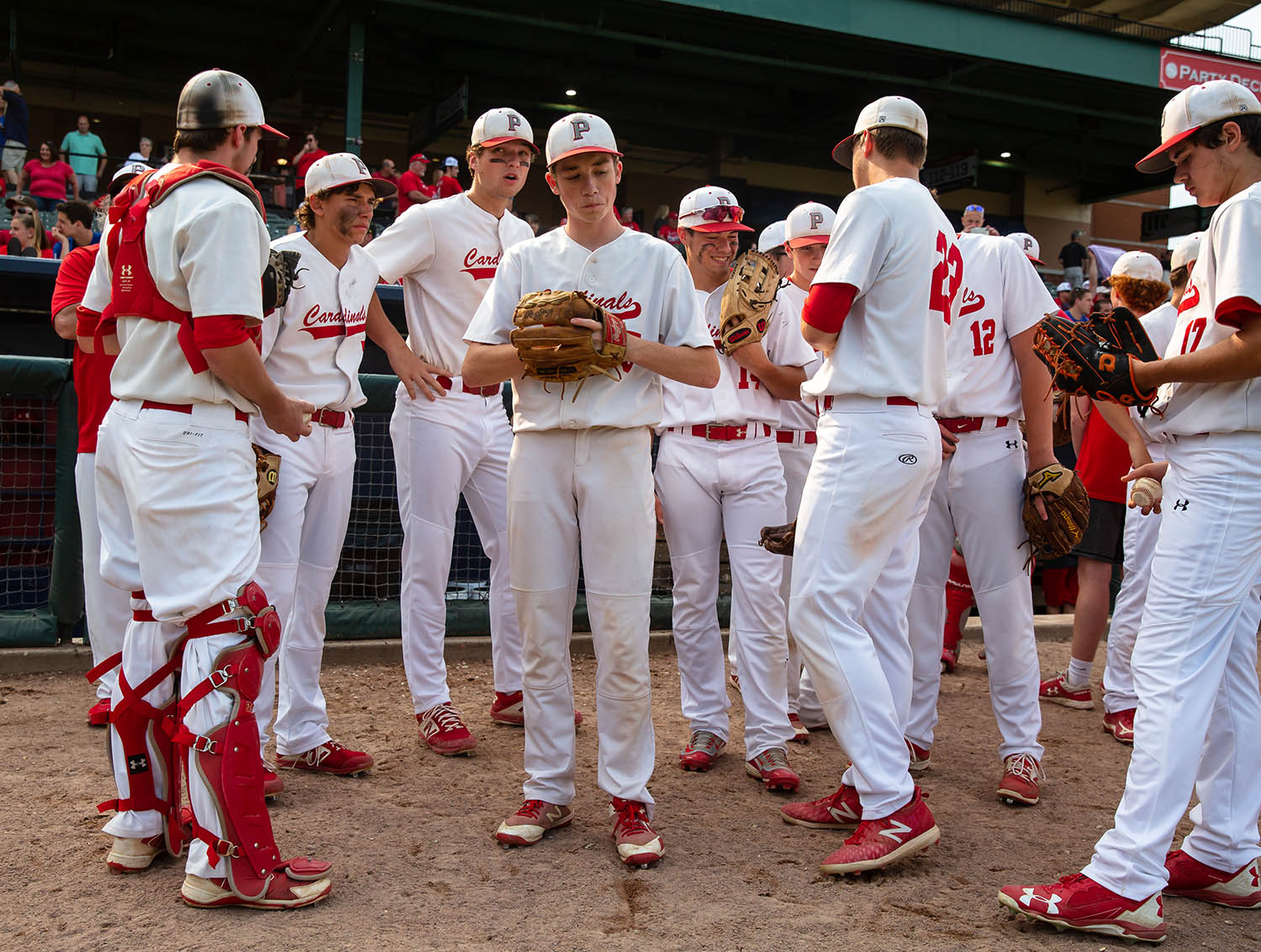 Pleasant Plains' Nick Skinner (5) gets ready with his teammates to take on Teutopolis in the IHSA Class 2A State Championship game at Dozer Park, Saturday, June 1, 2019, in Peoria, Ill. [Justin L. Fowler/The State Journal-Register]