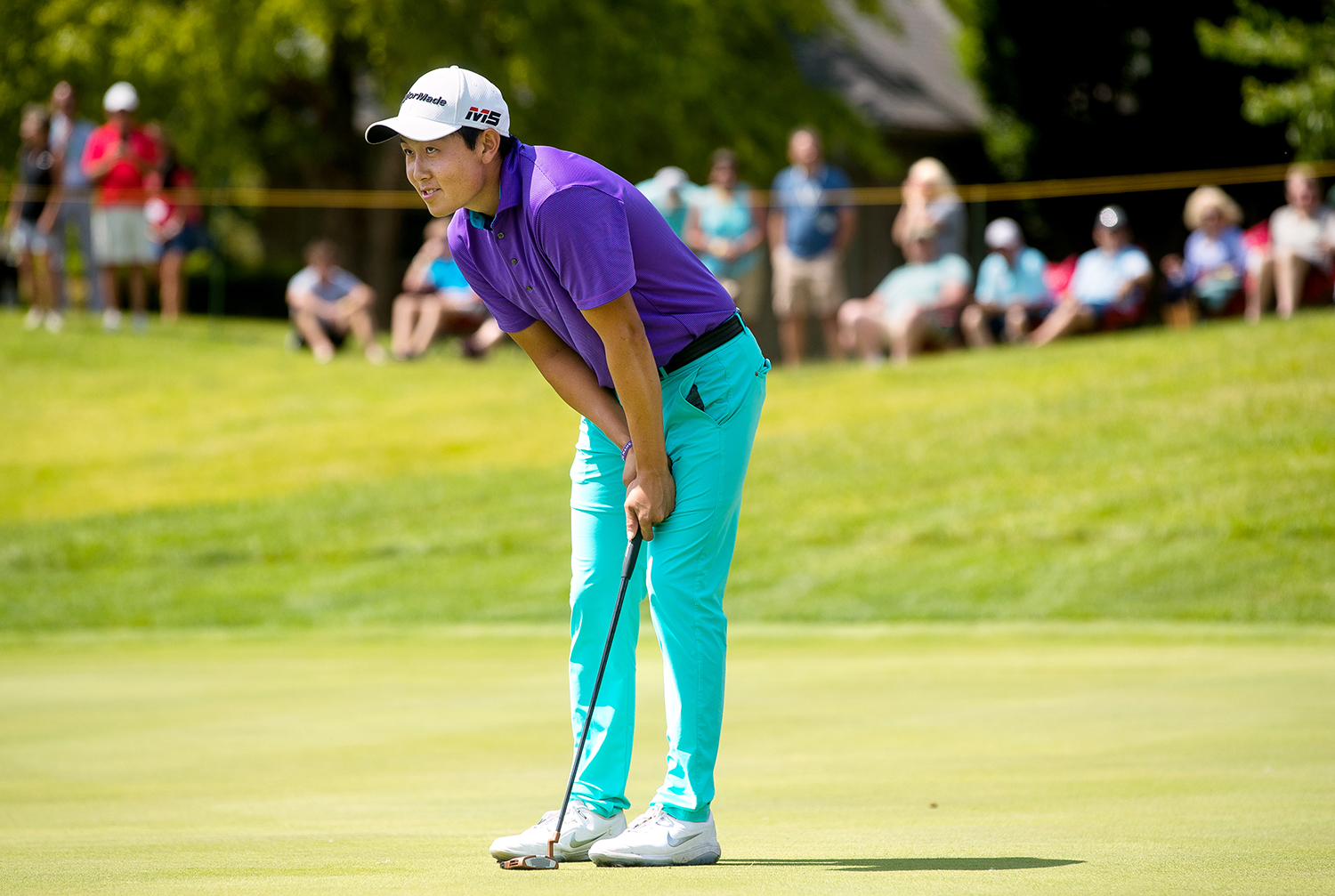 Dylan Wu reacts after his putt on the first of three playoff holes against Xinjun Zhang on the 18th green just missed during the fourth round of Web.com Tour's Lincoln Land Championship presented by LRS Sunday, June 16, 2019. Wu eventually lost on the third playoff hole. [Ted Schurter/The State Journal-Register]