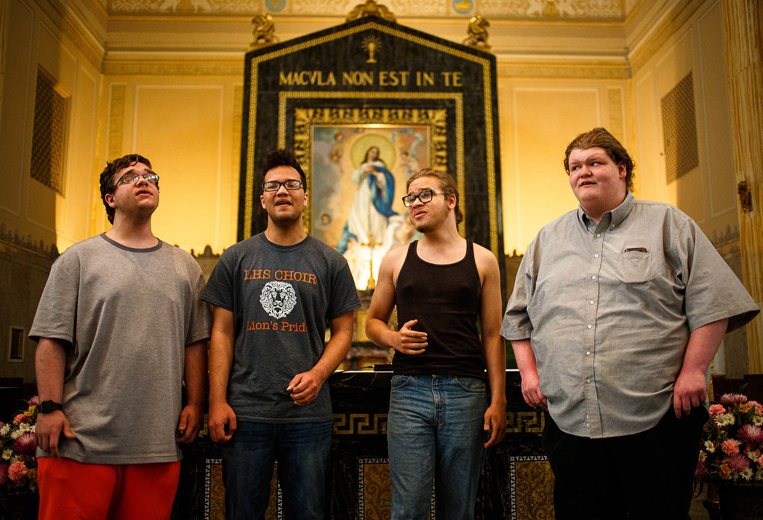 Bryce Cody, left, Stephen Hollenback, Harrison Paries and Baylon Elfgen, right, of the barbershop quartet, The Sound Four, rehearse at the Cathedral of Immaculate Conception, Tuesday, June 4, 2019, in Springfield, Ill. The group will be part of the First Friday Concert Series at the Cathedral of the Immaculate Conception on Friday. [Justin L. Fowler/The State Journal-Register]