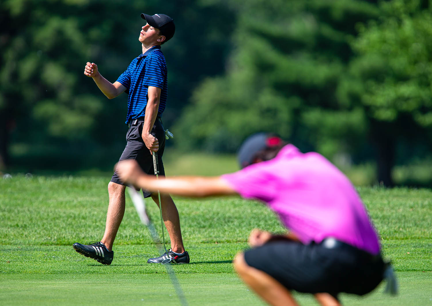 Tobin Nell reacts after missing a putt on the No. 9 hole on the opening day of the Drysdale Golf Tournament at Lincoln Greens Golf Course, Monday, July 8, 2019, in Springfield, Ill. [Justin L. Fowler/The State Journal-Register]