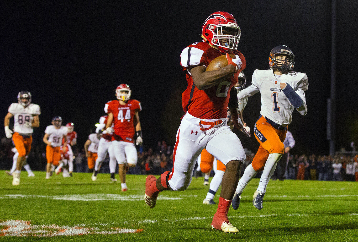 Glenwood's Narkel LeFlore (6) sprints for the endzone and another first half touchdown against Rochester at Glenwood High School Friday, Oct. 25, 2019. [Ted Schurter/The State Journal-Register]