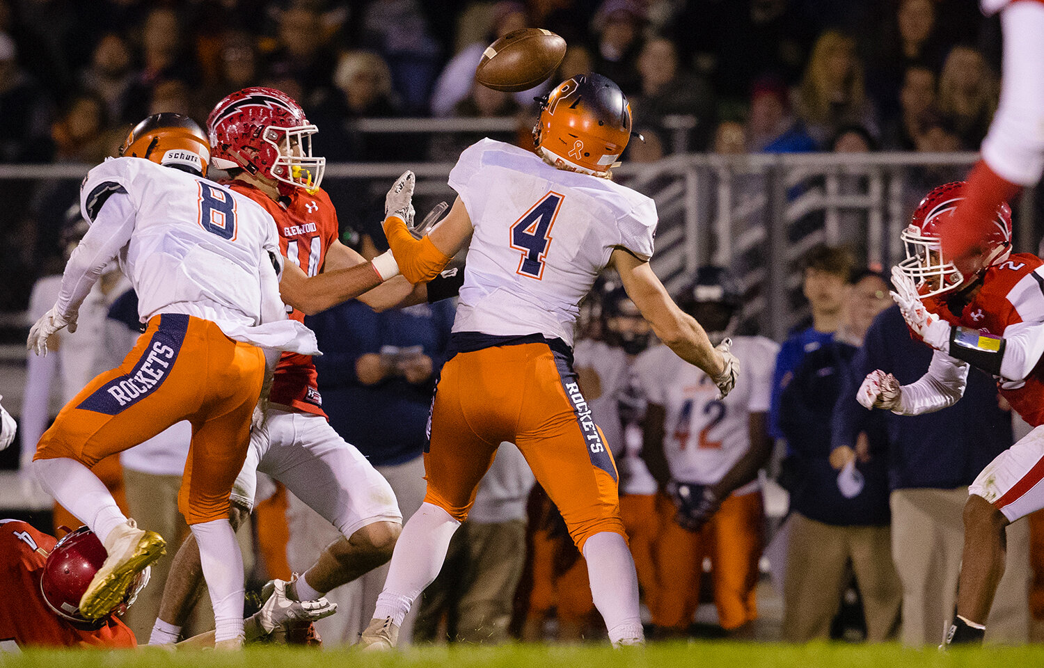 Rochester's Henry Patterson (4)  bobbles a pass that was intercepted by Glenwood at Glenwood High School Friday, Oct. 25, 2019. [Ted Schurter/The State Journal-Register]