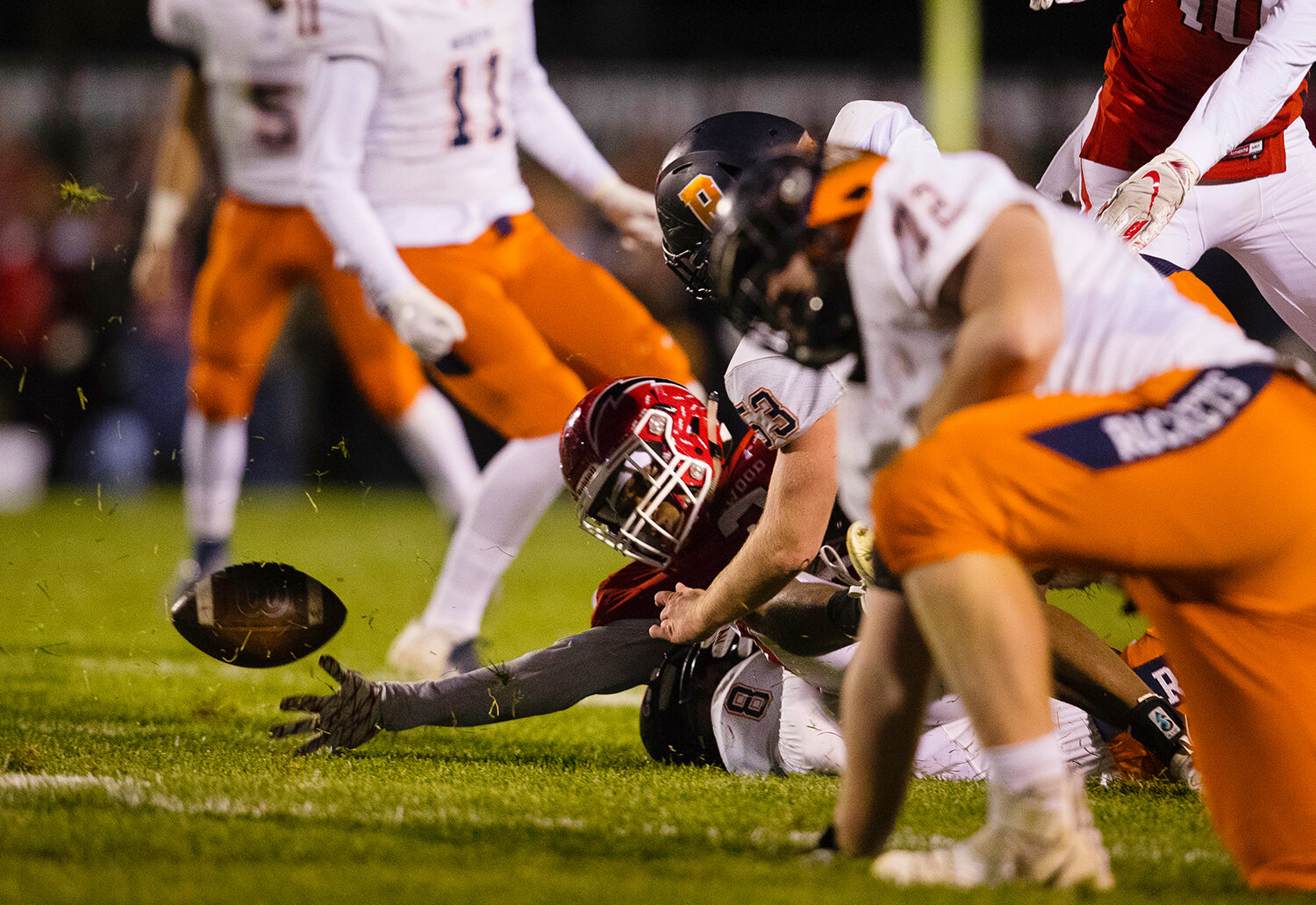 Glenwood's Jason Hansbrough (2)  fumbles the ball on a kick return against Rochester at Glenwood High School Friday, Oct. 25, 2019. [Ted Schurter/The State Journal-Register]