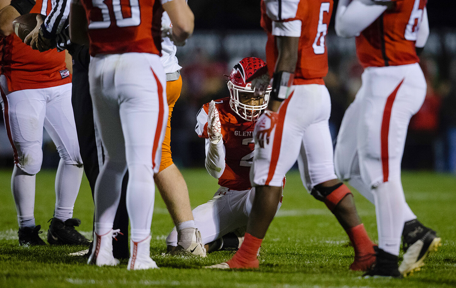 Glenwood's Jason Hansbrough (2)  reacts after fumbling the ball on a kick return against Rochester  at Glenwood High School Friday, Oct. 25, 2019. [Ted Schurter/The State Journal-Register]