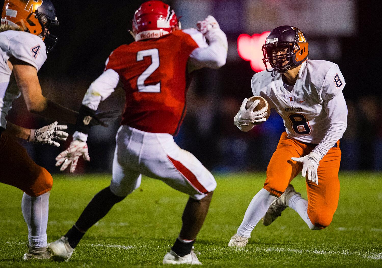 Glenwood's Caleb Walker (8) runs for forward yards at Glenwood High School Friday, Oct. 25, 2019. [Ted Schurter/The State Journal-Register]