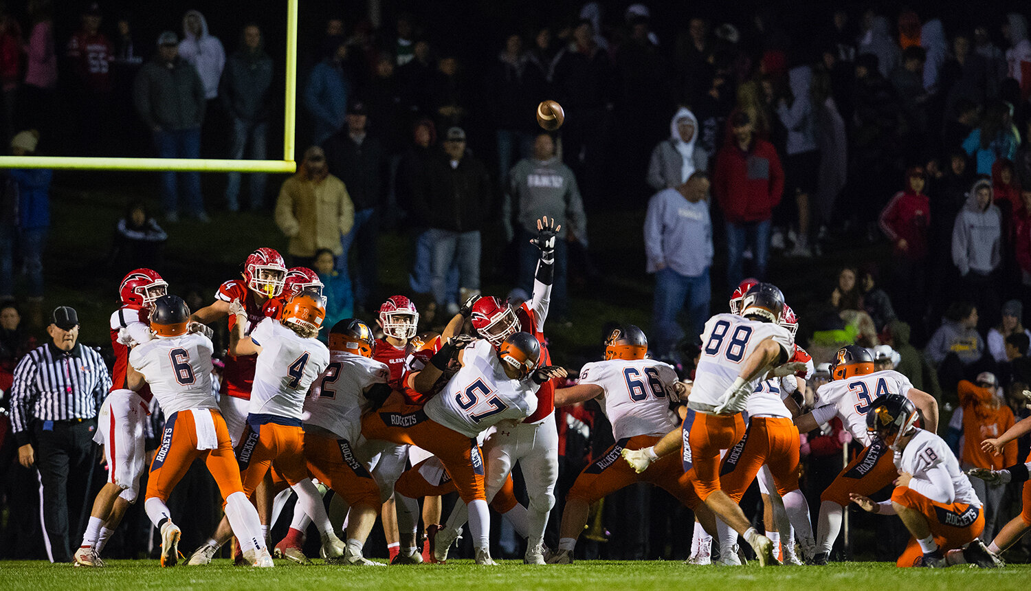 Rochester's Clay Alewelt (88)  kicks an extra point at Glenwood High School Friday, Oct. 25, 2019. [Ted Schurter/The State Journal-Register]