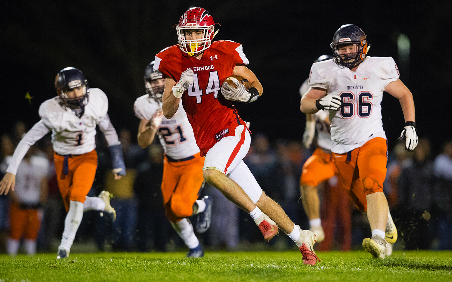 Glenwood's Tyler Burris (44) makes a break for the endzone after a pass reception against Rochester at Glenwood High School Friday, Oct. 25, 2019. [Ted Schurter/The State Journal-Register]