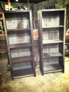 Click the Image to buy the plans!  - Reclaimed Barn Wood And Corregated Metal Shelves