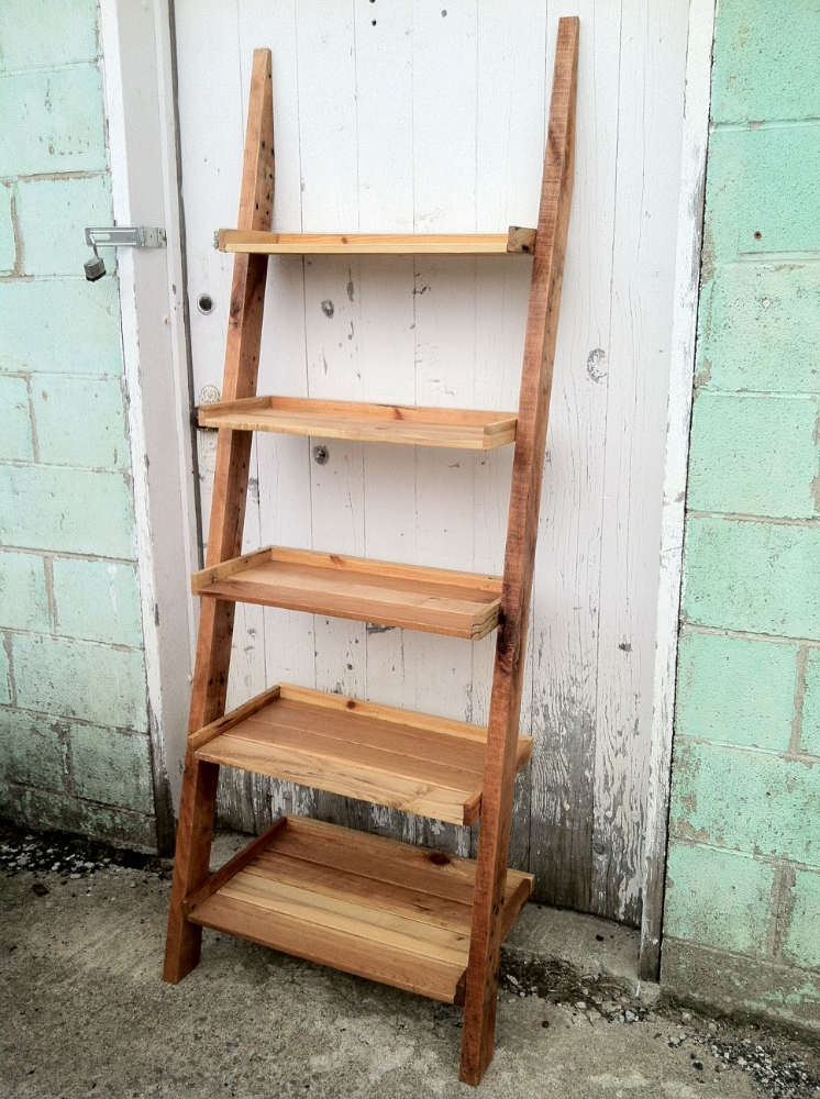 Pallet Wood Ladder Shelf