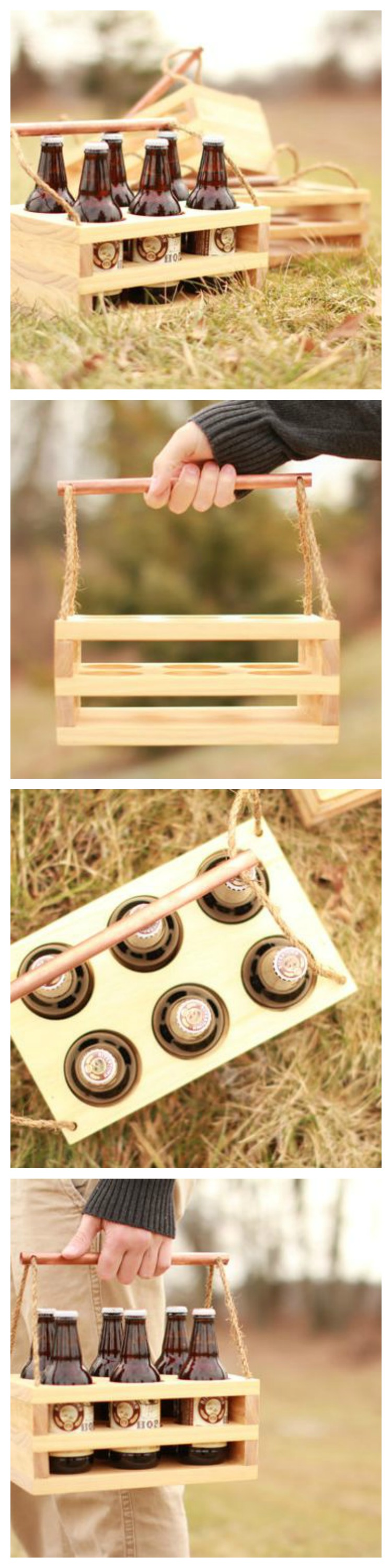 Wooden Beer Carrier with Copper Handel