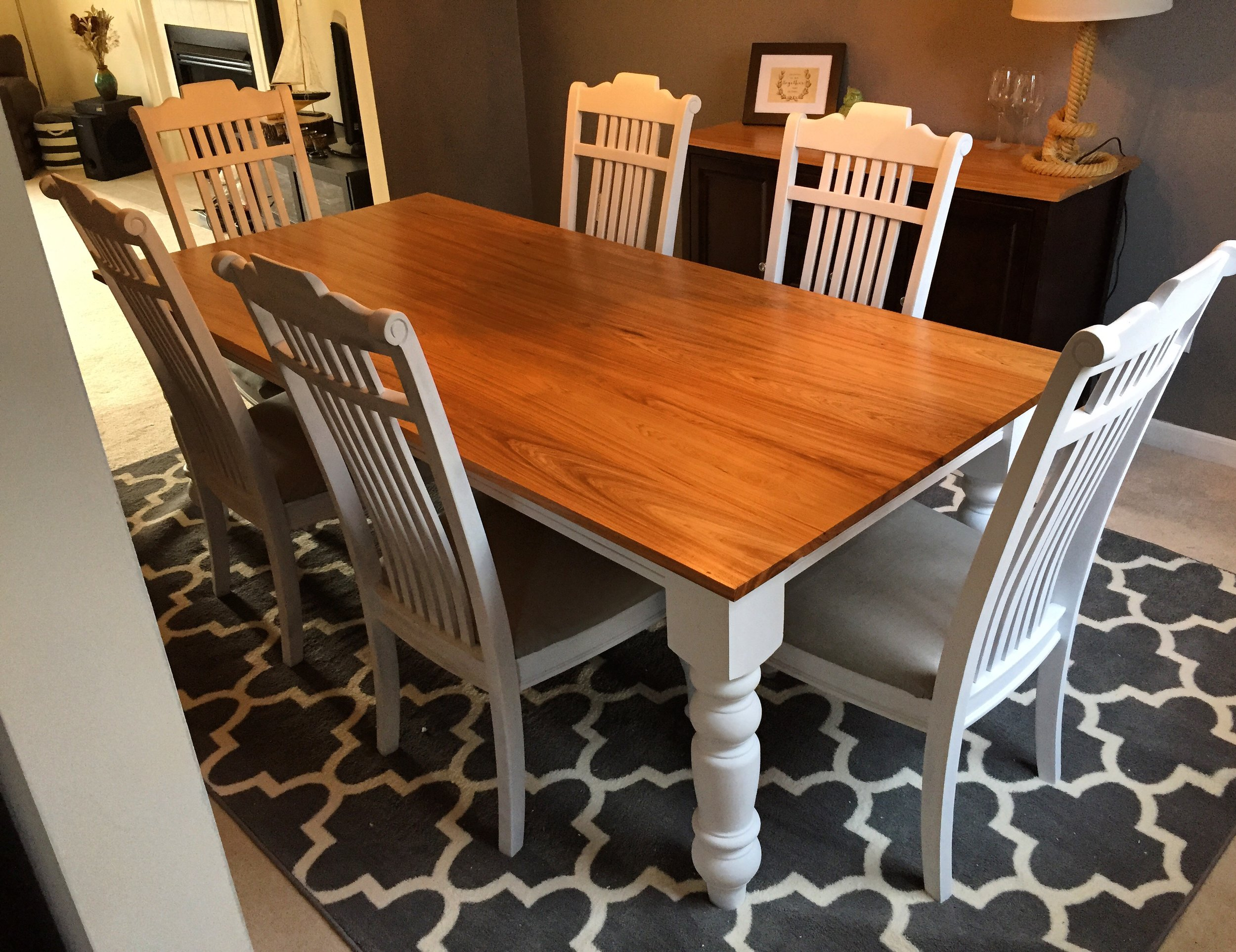 Farmhouse Table with Hickory Top and White Base