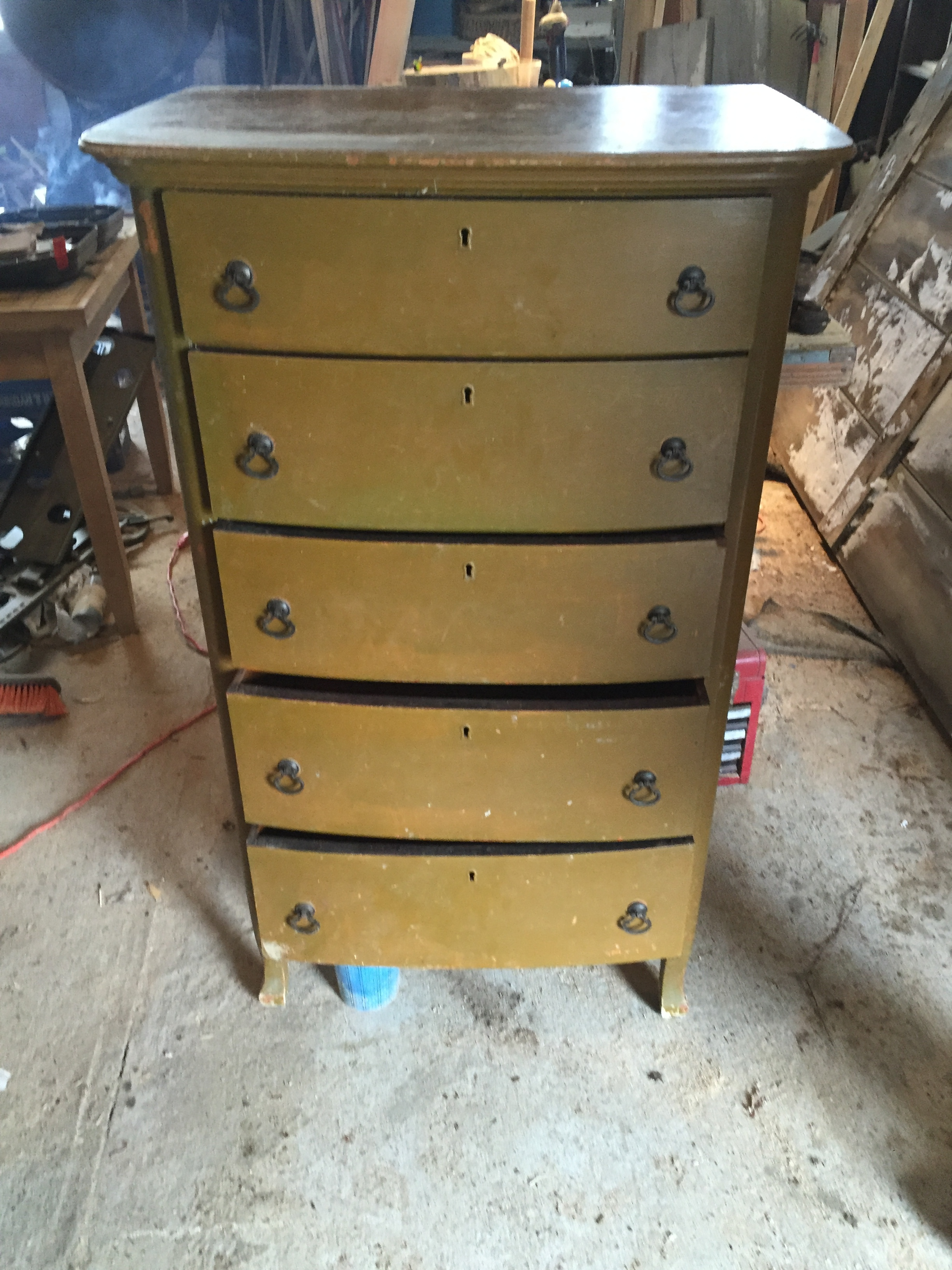 Ugly green antique dresser - Before