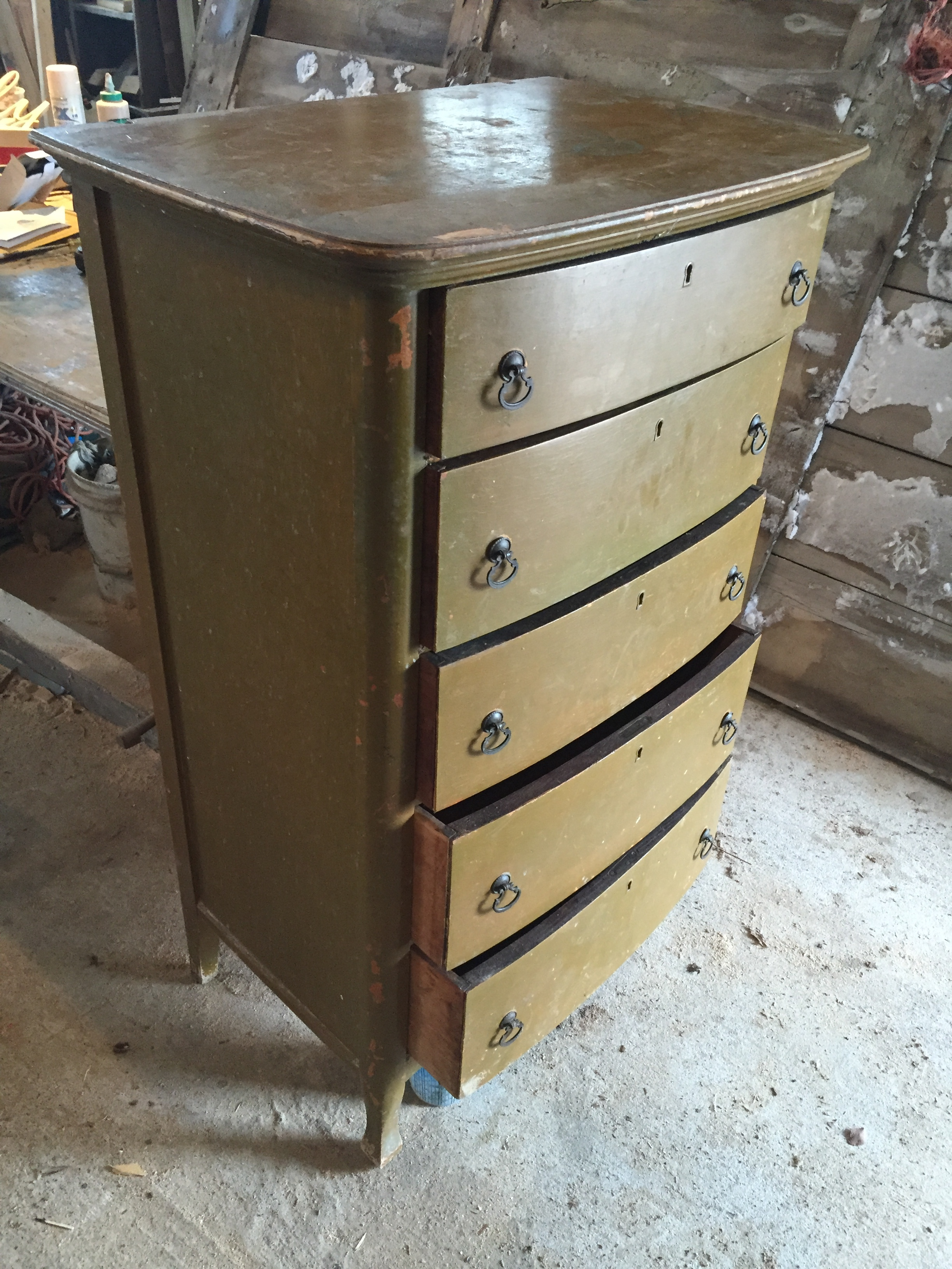 how to restore an antique dresser - before