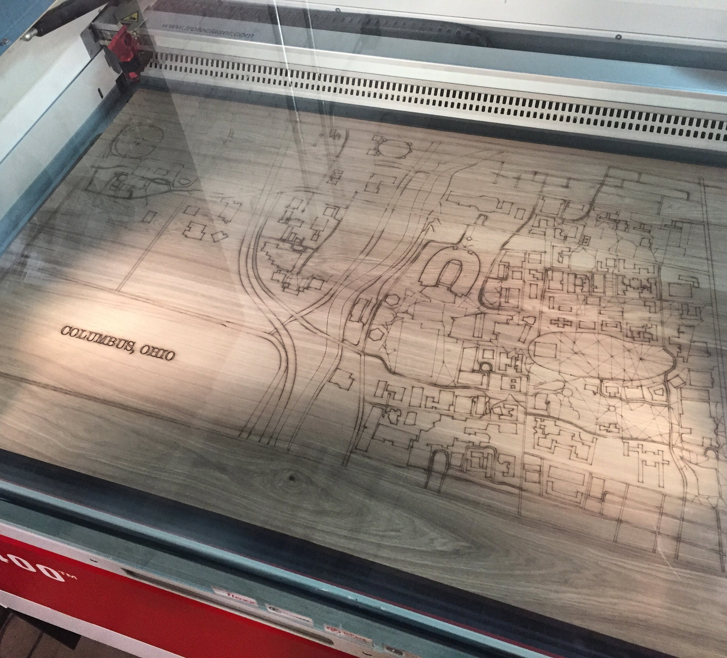 Laser Engraved Map of OSU Campus, Columbus, Ohio