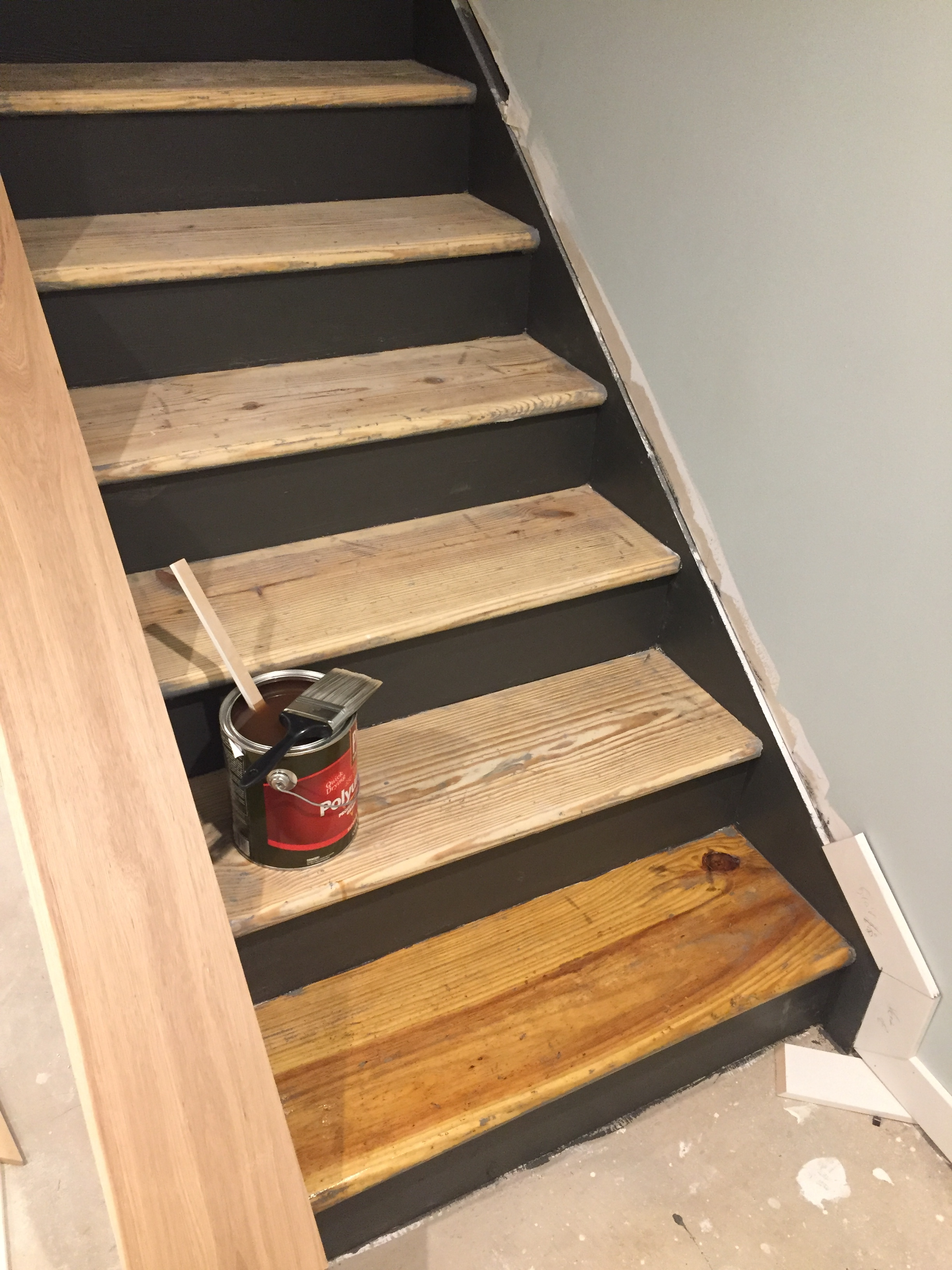 Natural Stair Treads with SW Urbane Bronze Risers