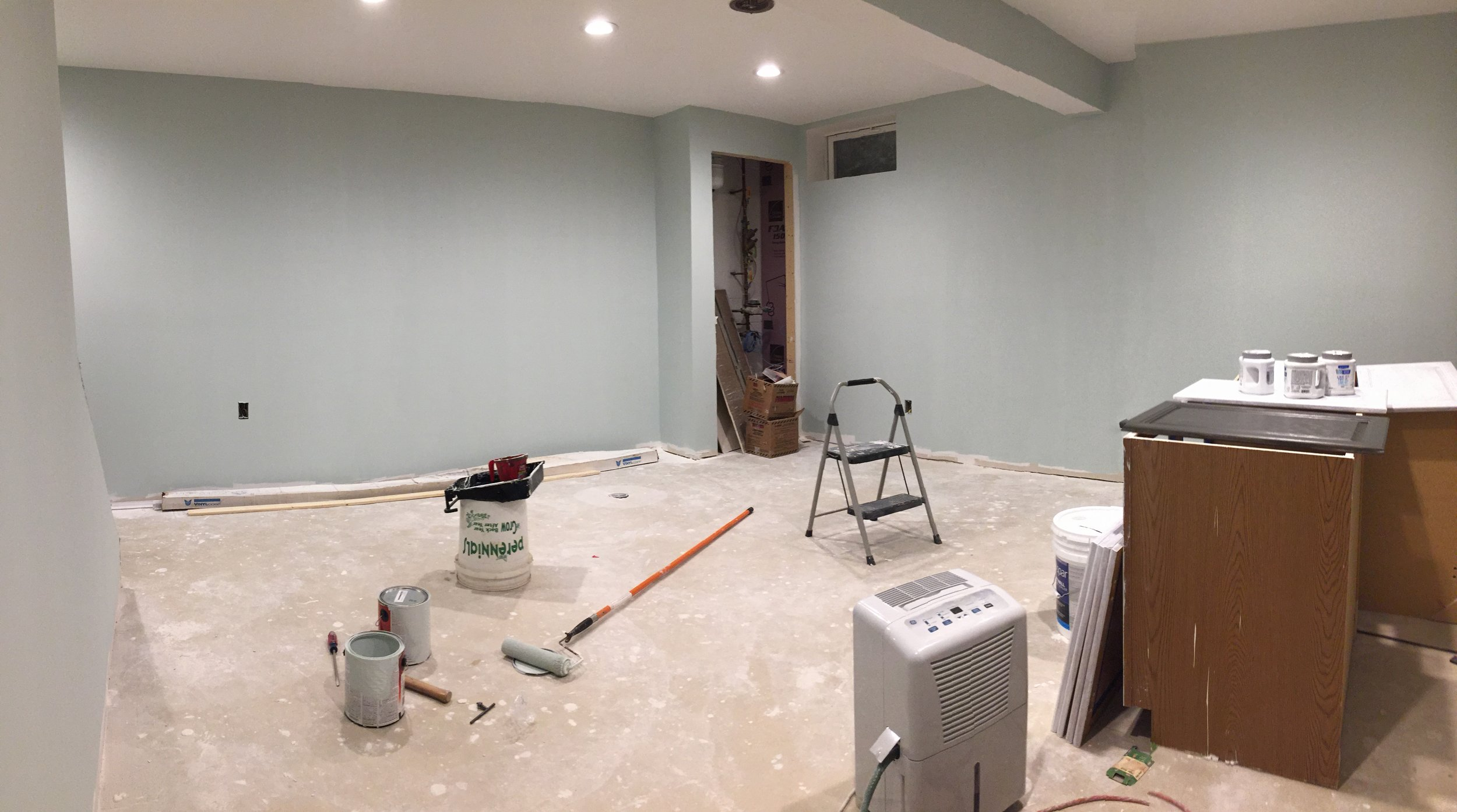 Painting Sherwin Williams Sea Glass on our basement walls