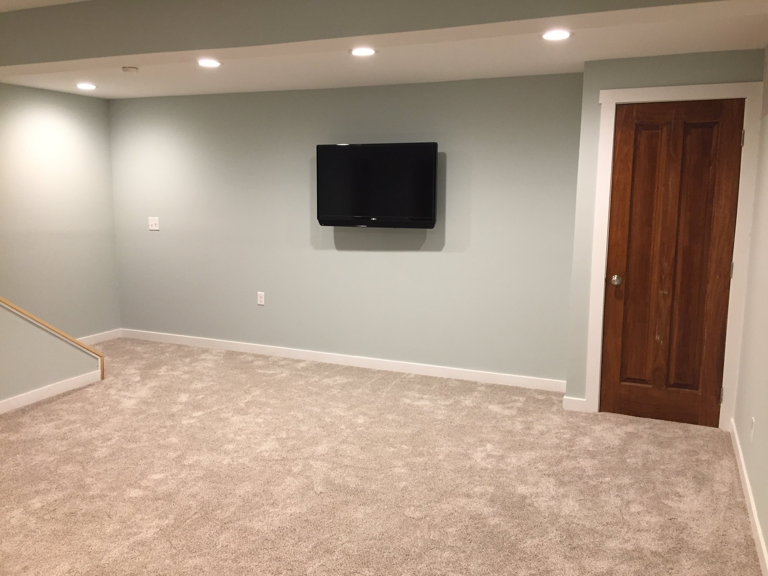 Finished Basement with Mounted TV