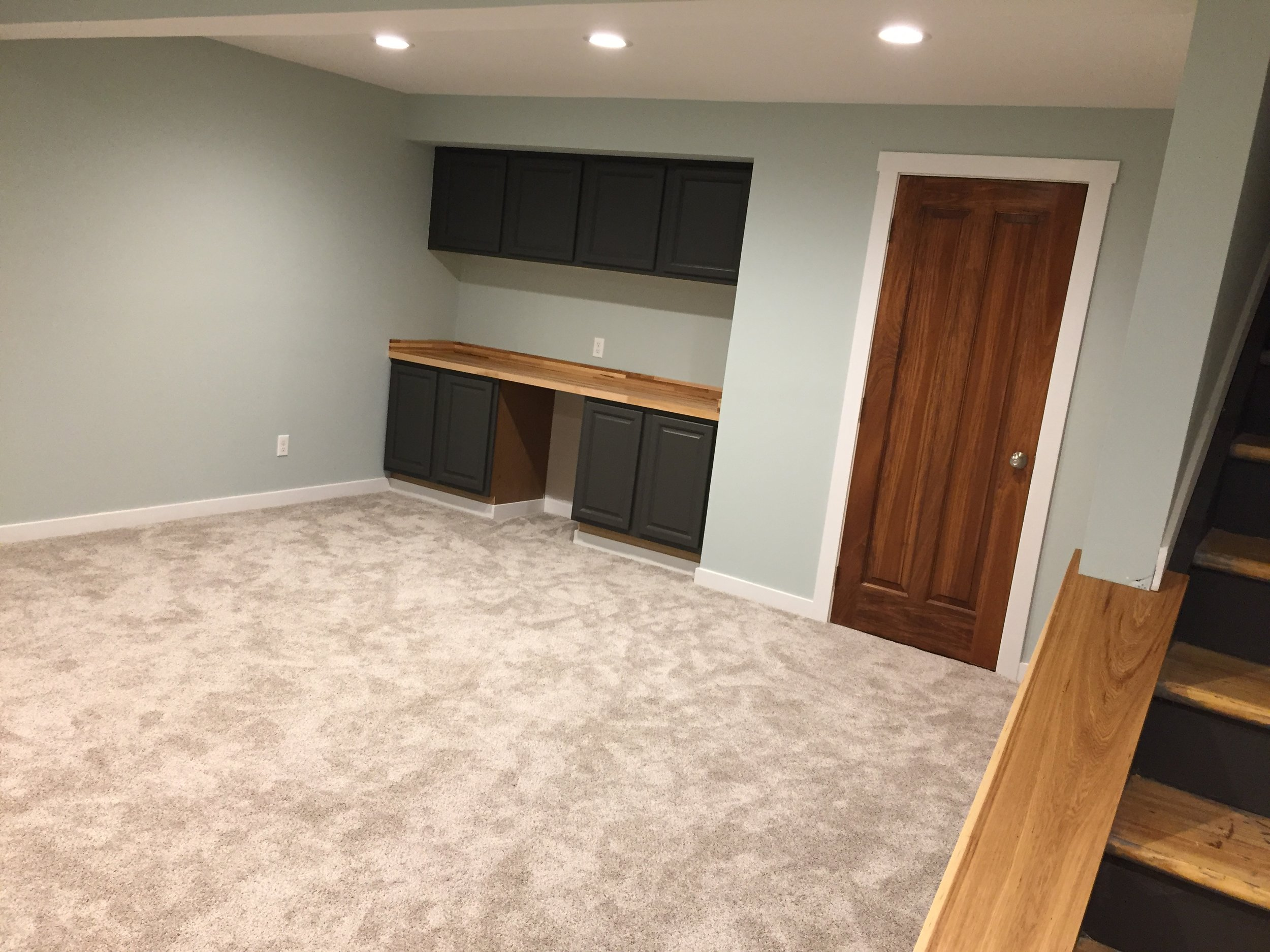 Finished Basement - Carpet, Sea Glass Walls, Natural Wood