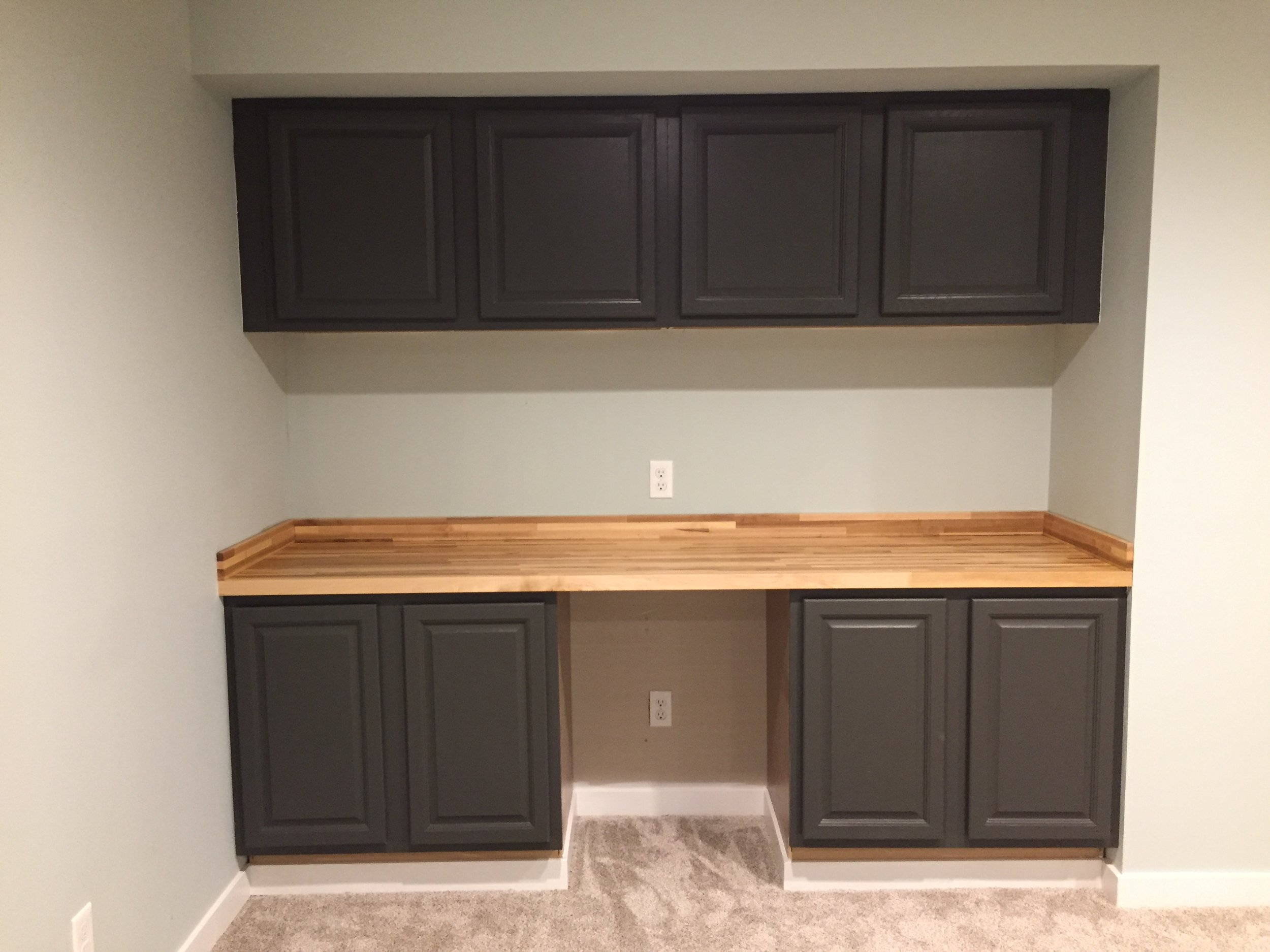 SW Urbane Bronze Cabinets with Butcher Block Countertop
