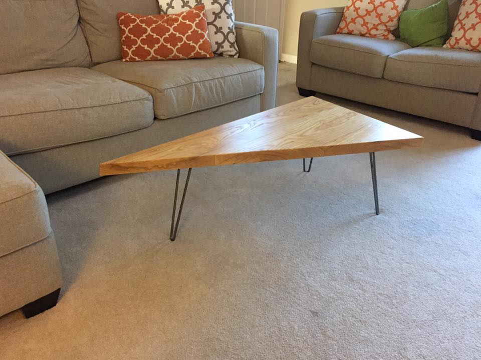 triangle coffee table with hairpin legs