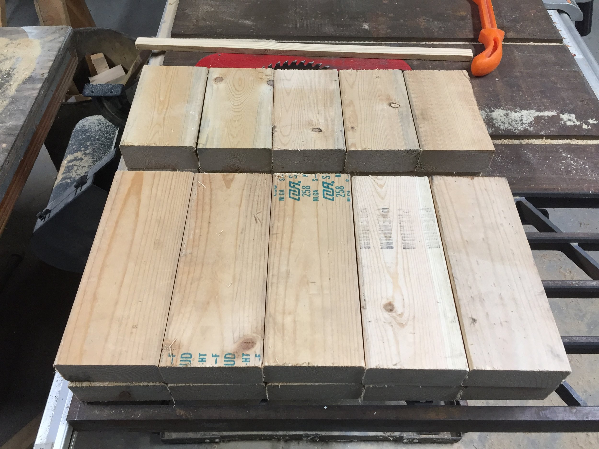 Frame sides from scrap 2x4 lumber.