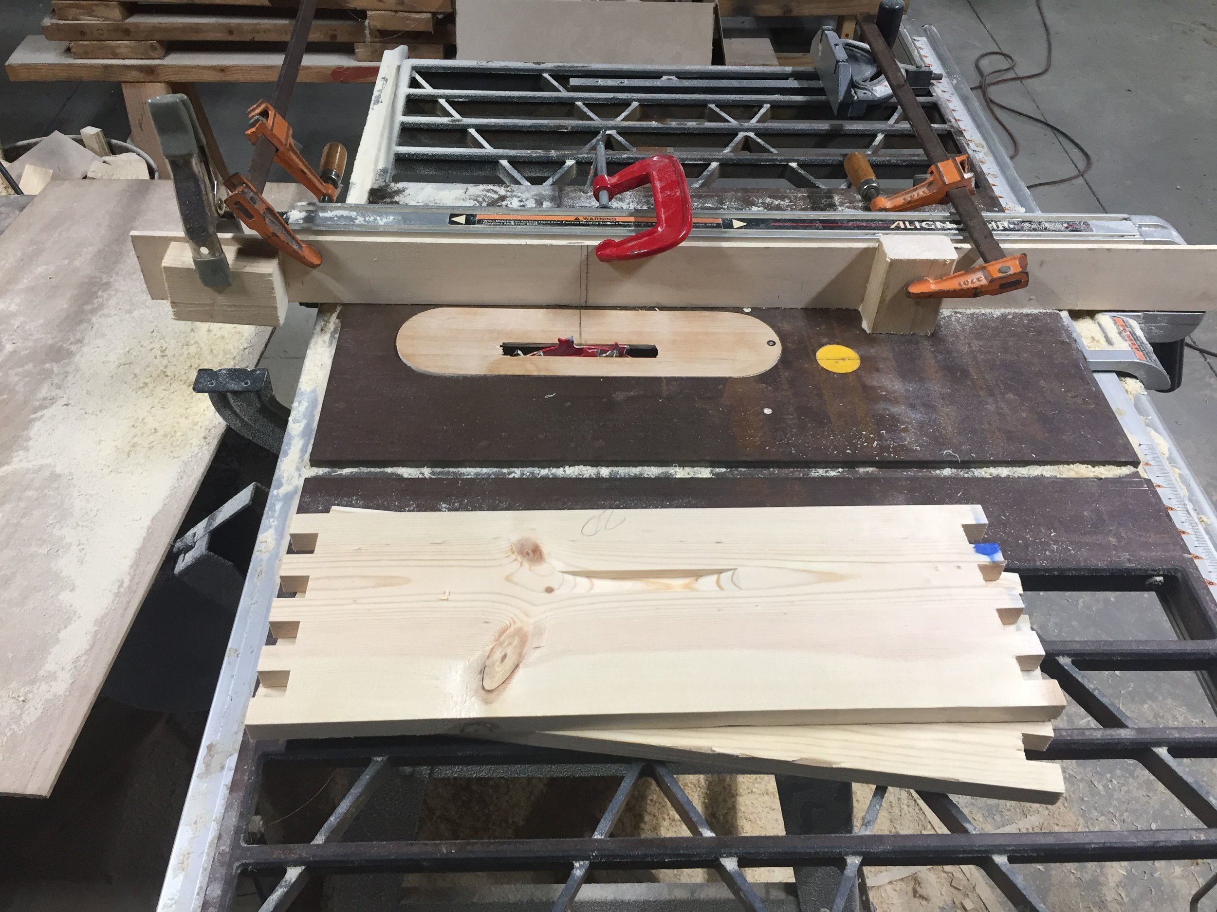 Cutting the hand holds with a table saw and dado stack