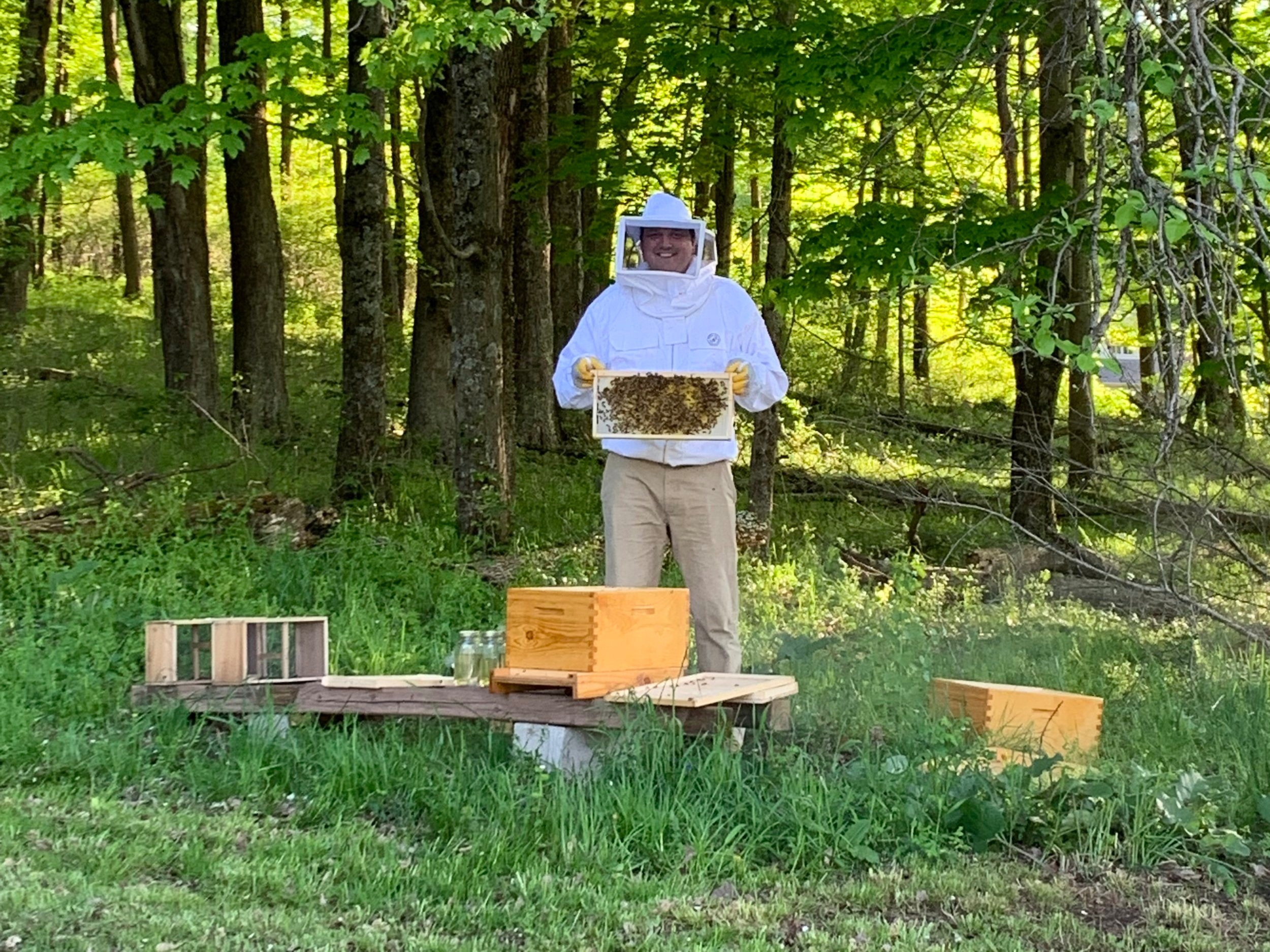 I built my own hives and got some bees!