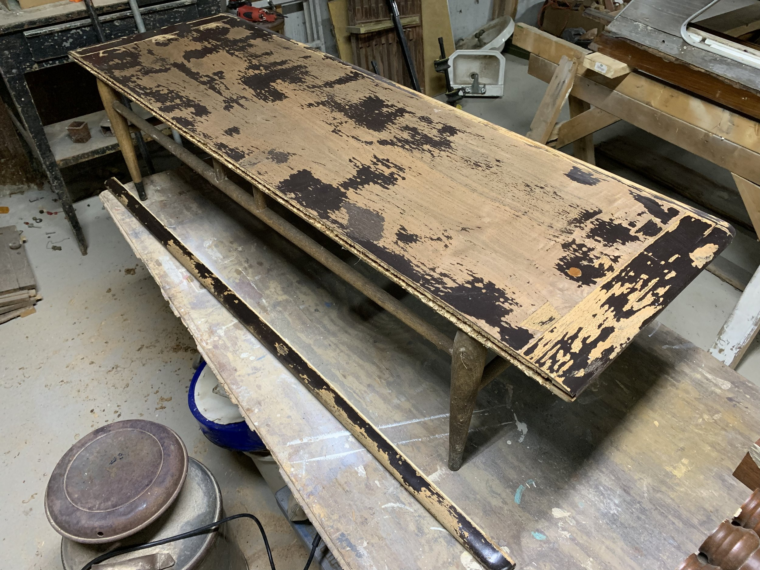 mid century modern table restoration