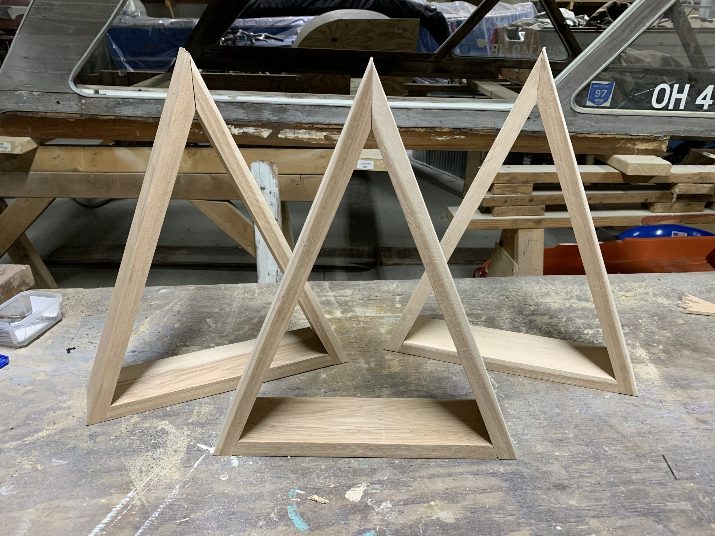 Triangle shelve assembled - ready for finishing.