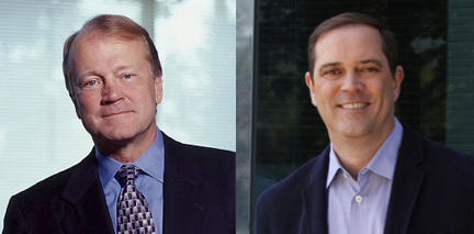 Cisco CEO John Chambers (l.) will step down in July, succeeded by Chuck Robbins (r.).