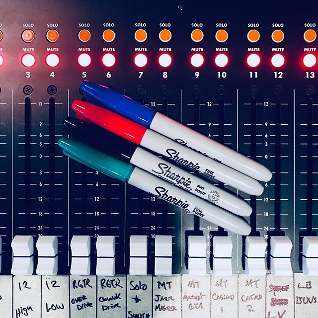 Our new record is being mixed by engineer co-producer @landisatwork it's sounding great and is as colorful as these Sharpies. Much of the mixing is happening in the analog world. Thus the need for marking the tracks.#cincymusic #apithebox #apitheboxconsole @thisisapiaudio