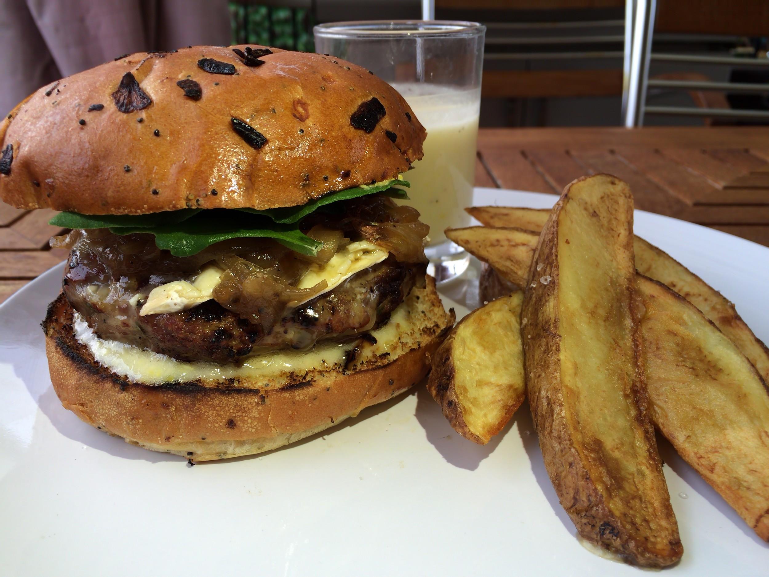 Burger, Maple, Caramelized Onions, Fries, Brie, Horseradish, Aioli