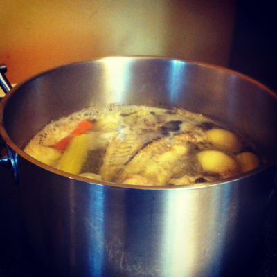 To make a simple fish stalk put a couple onion, carrots, celery and fish bones and add water. Bring to a simmer and simmer for 45min to 1.5 hours.