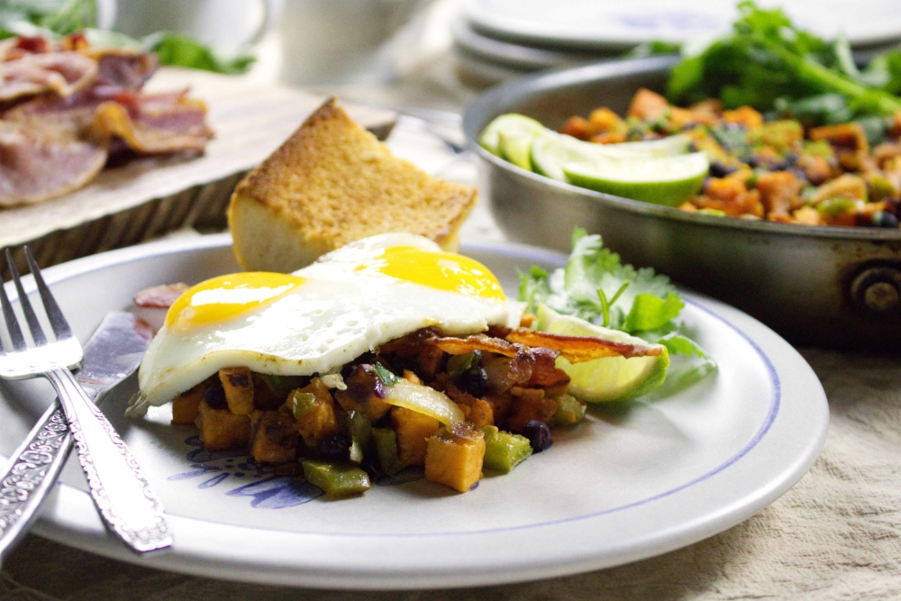 Chipotle and Blueberry Sweet Potato Hash