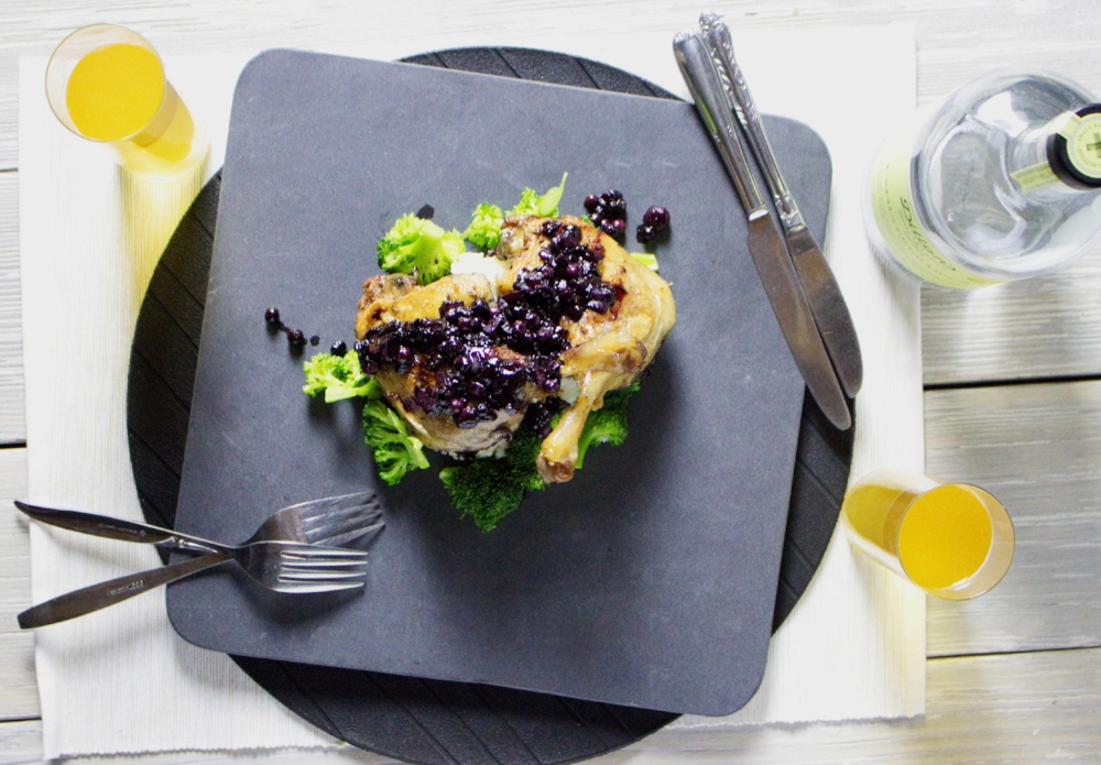 Duck Confit with Gin and Blueberry Compote