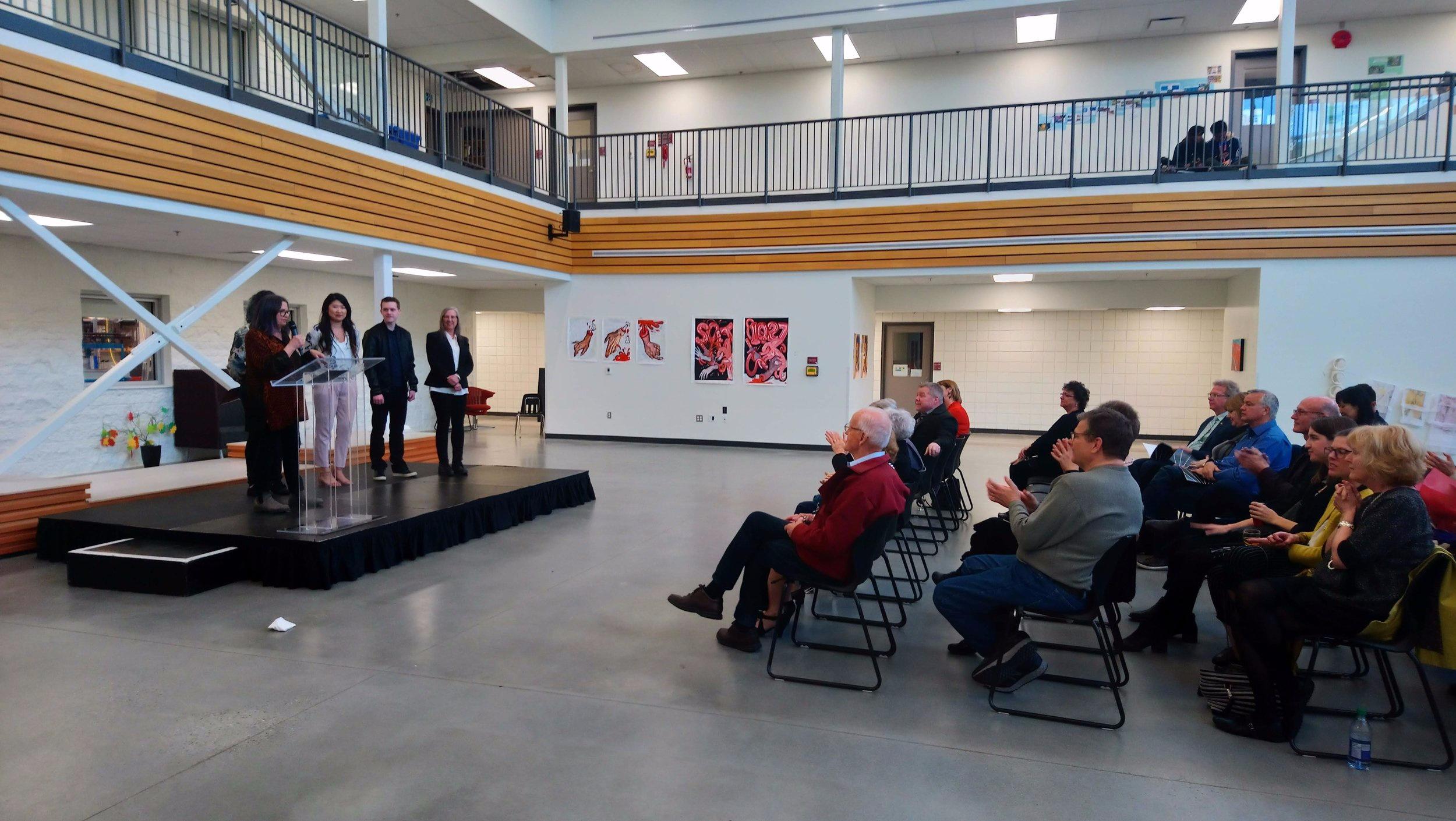 4th Year Instructor Elizabeth Barnes with Graduating Students Shandis Harrison, Eva Yang, Ryan Broderick, and Angela Wells