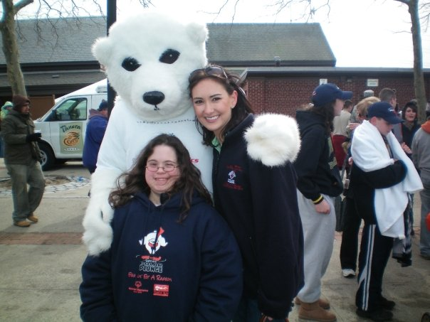 Emily Hardman before singing the national anthem at the Polar Bear Plunge to support the United Cerebral Palsy Association of Nassau County