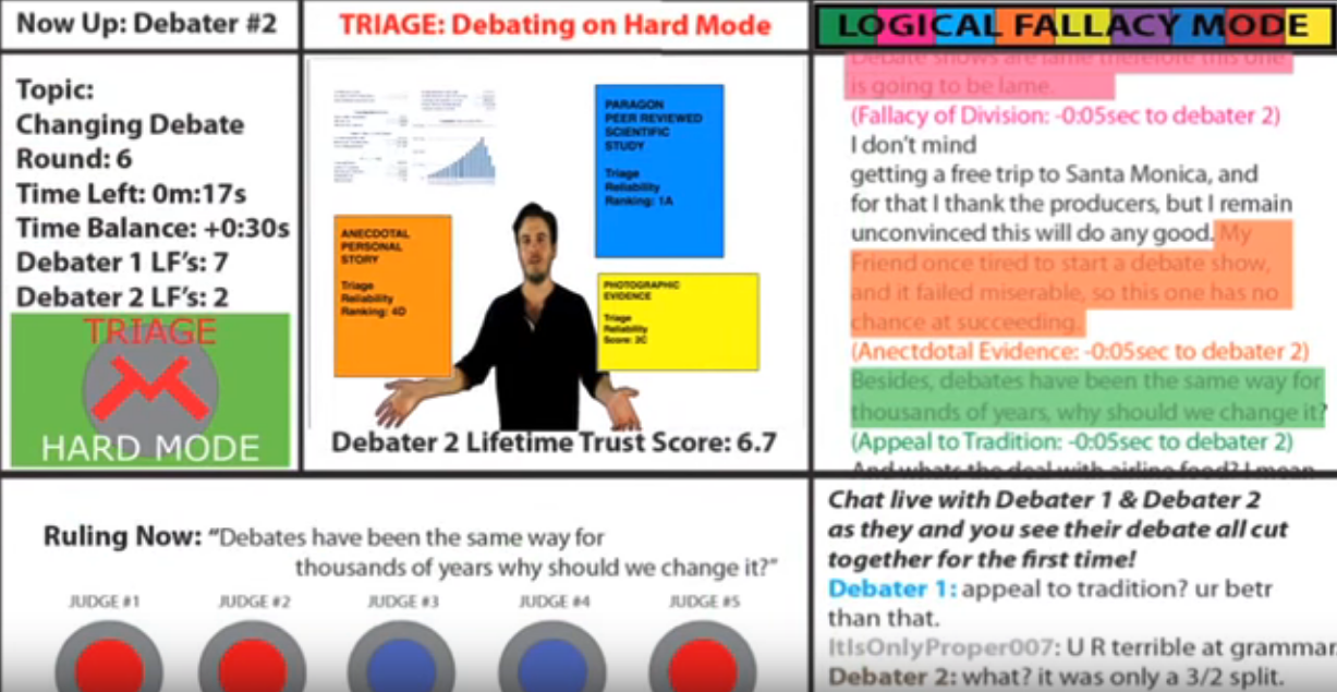 Primordially rough mockup showing elements of the debate show portion of the Triage Project