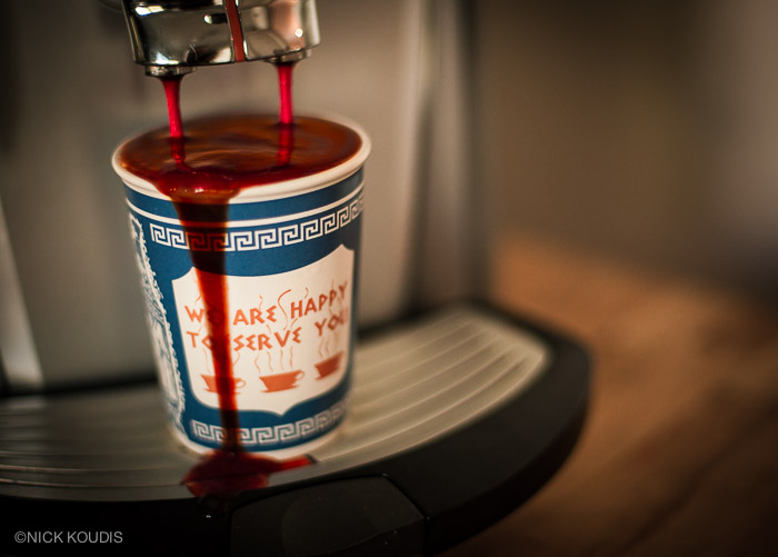 The last bloody cup from the cold, dead machine