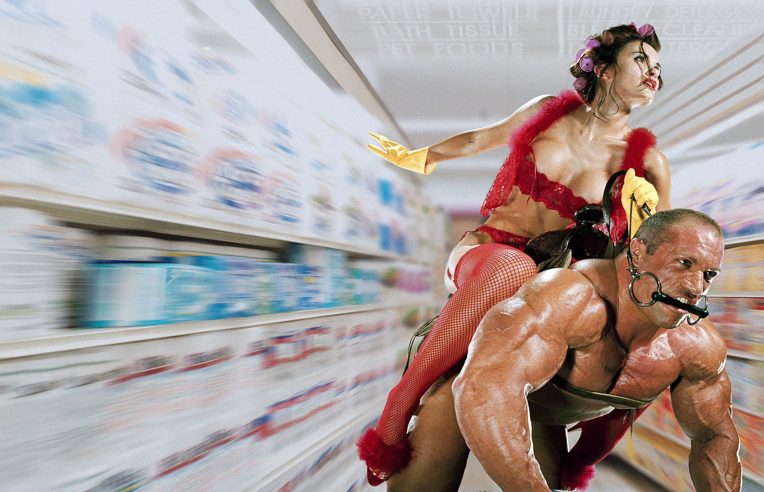 Housewife Riding Bodybuilder in a Supermarket