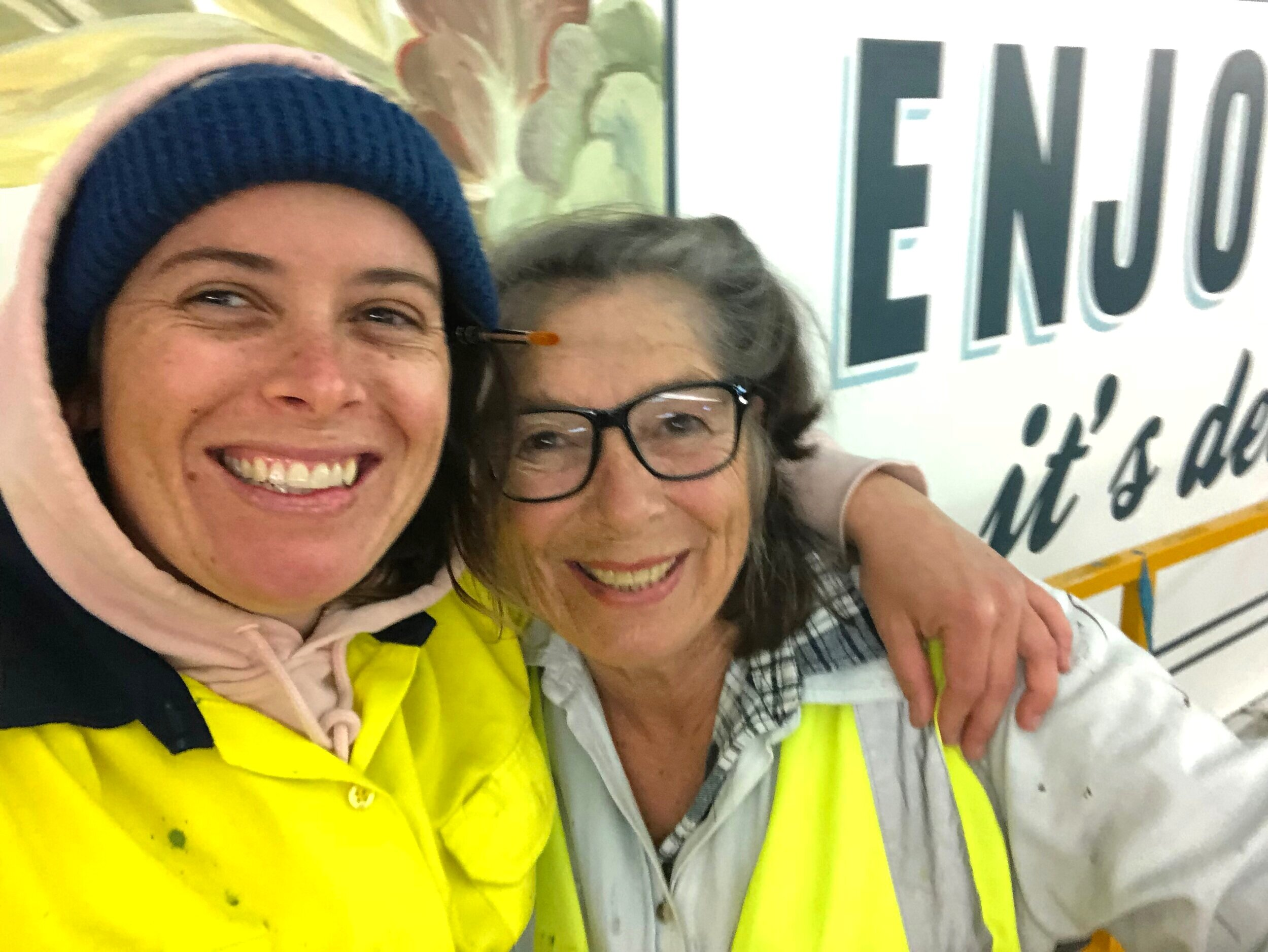 Mum, now assisting me on the job at Westfield, Westlakes SA (this photo was taken when we finished the mural at 4:30am)