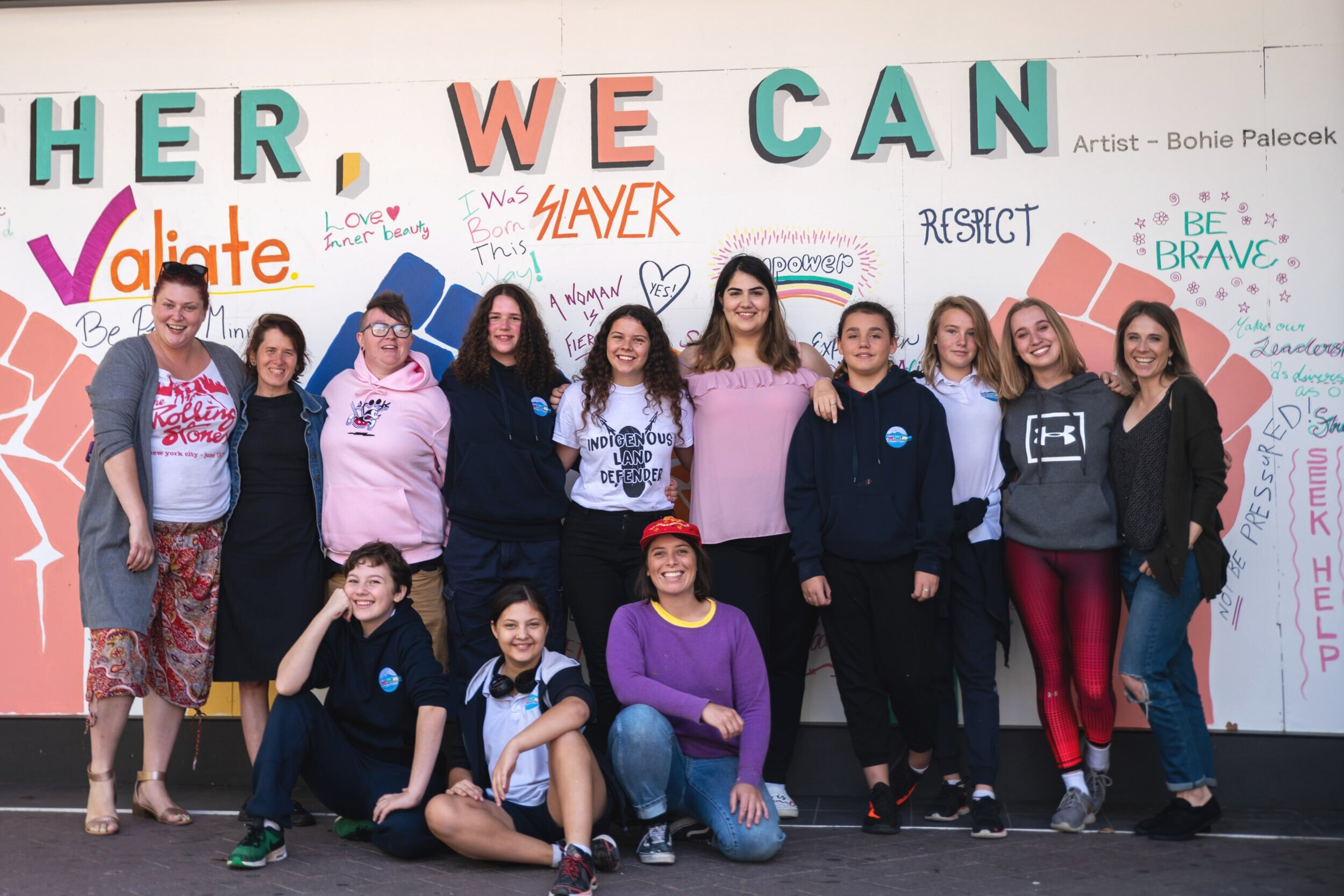 Proud as PUNCH having designed and workshopped a collaborative mural project with high school students and the YWCA for International Womens Day, Canberra ACT