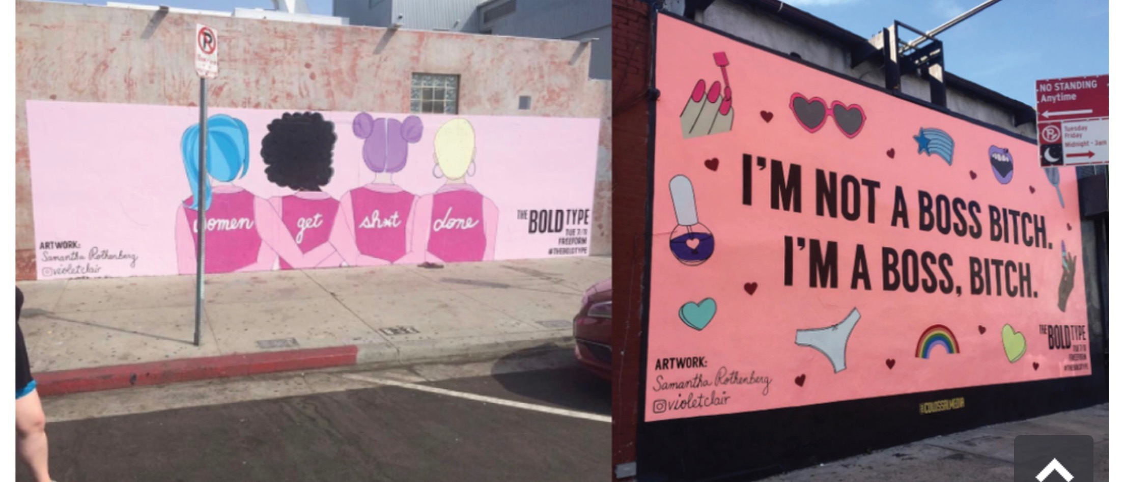 Two murals (one in LA, the other in NYC), painted by Samantha Rothenberg