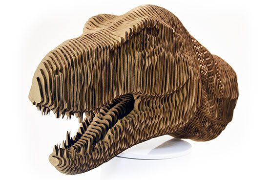 .156 Cardboard Cut & Glued To Create 3D T-Rex Head