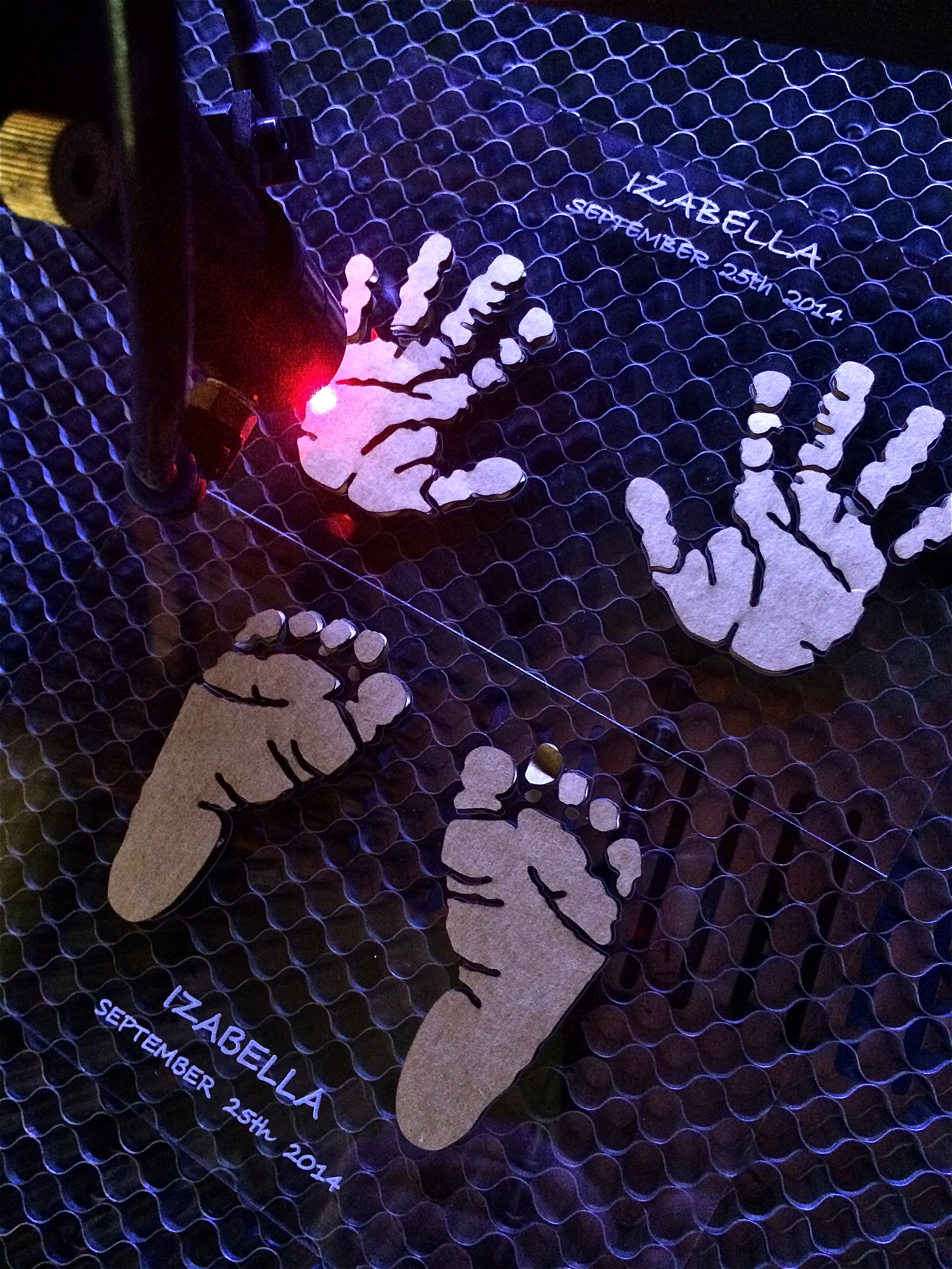 "6""x4"" Laser Cut & Etched Acrylic Sheet Inlay With Cardboard Baby Hands & Feet Cut & Glued"